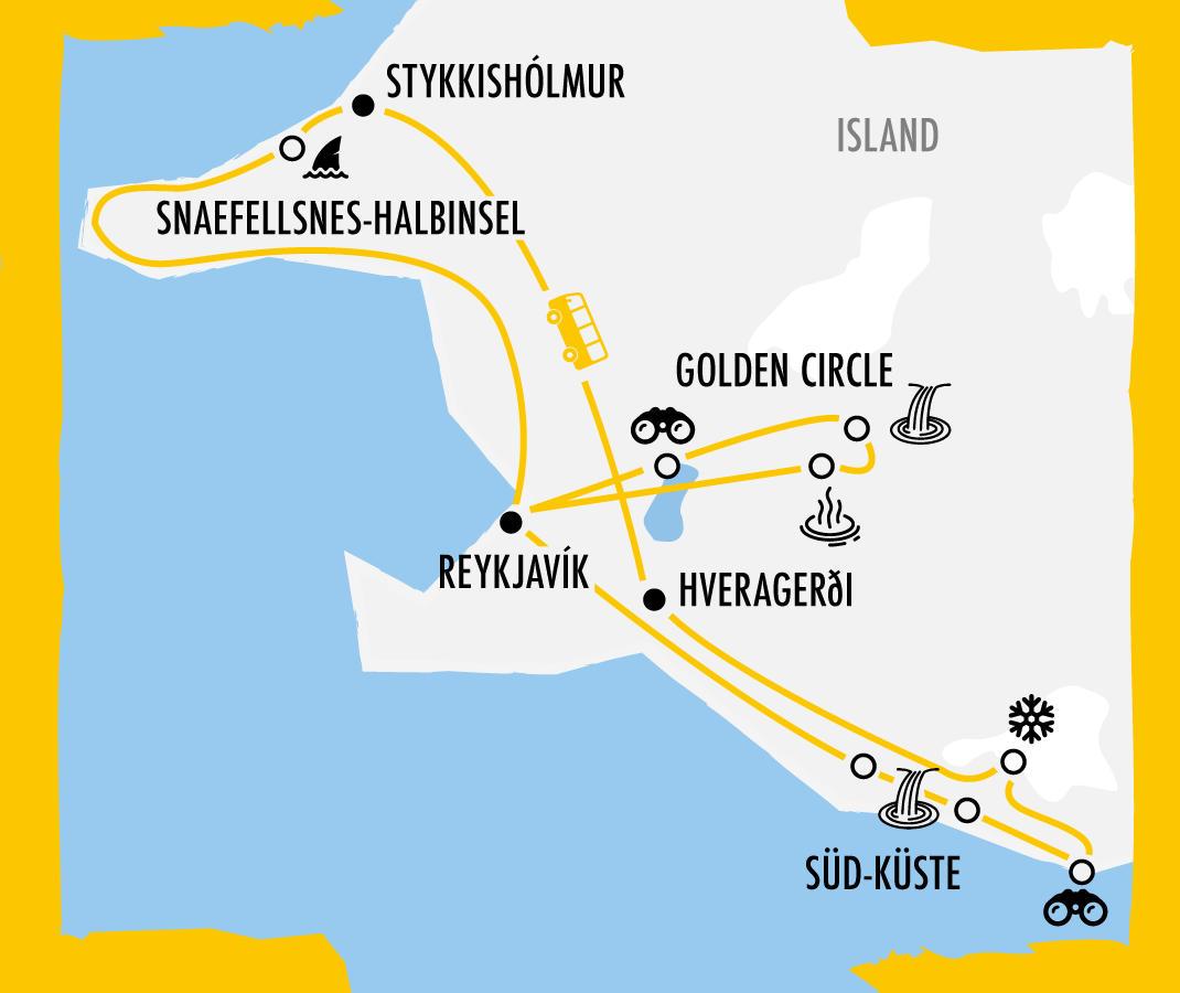 Reiseverlauf der My Gap Week Islandreise zum Iceland Airwaves Festival